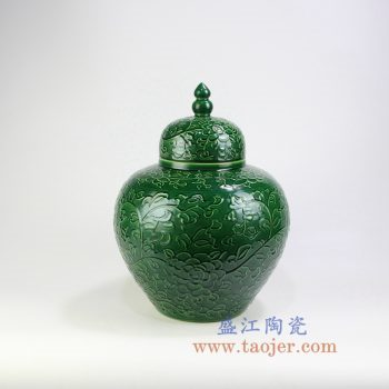 RYDB55-A_景德镇陶瓷 纯手工雕刻绿色缠枝莲 储物罐 大肚罐 陶瓷摆件