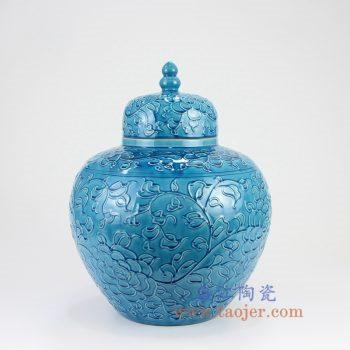 RYDB55-B_景德镇陶瓷 纯手工雕刻孔雀蓝色缠枝莲 储物罐 大肚罐 陶瓷摆件