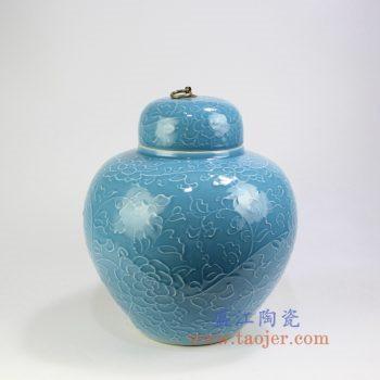RYDB56-A_景德镇陶瓷 纯手工雕刻天蓝色缠枝莲铜扣储物罐 大肚罐 陶瓷摆件