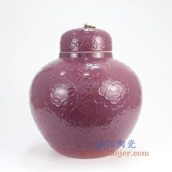 RYDB56-B_景德镇陶瓷 纯手工雕刻紫色缠枝莲铜扣储物罐 大肚罐 陶瓷摆件