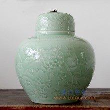 盛江陶瓷 纯手工雕刻影青色缠枝莲铜扣储物罐 大肚罐 陶瓷摆件