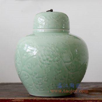 RYDB56-C景德镇陶瓷 纯手工雕刻影青色缠枝莲铜扣储物罐 大肚罐 陶瓷摆件