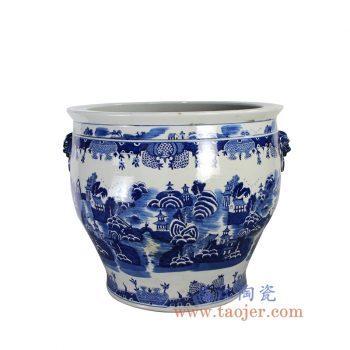 RYLU139-景德镇陶瓷 纯手绘 青花仿古山水楼阁 双耳 大水缸 米缸 花盆