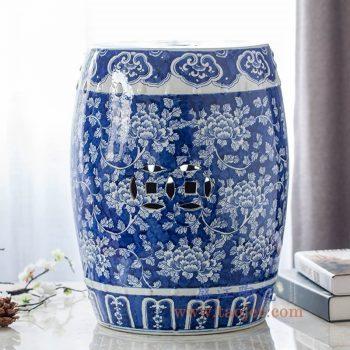 RYLU18-D景德镇陶瓷 纯手绘 蓝底牡丹花 铜钱雕刻 圆凳 凉墩