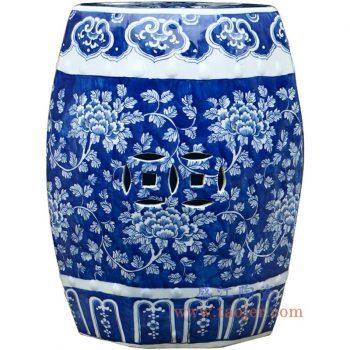 RYLU79-景德镇陶瓷 纯手绘 蓝底牡丹花 铜钱雕刻 圆凳 凉墩