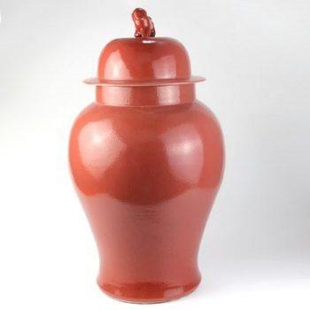 RYNQ203-C_景德镇陶瓷 高温颜色釉 胭脂红 狮子头 将军罐 储物罐 摆件品