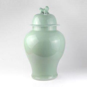 RYNQ203-D_景德镇陶瓷 高温颜色釉 影青 狮子头 将军罐 储物罐 摆件品