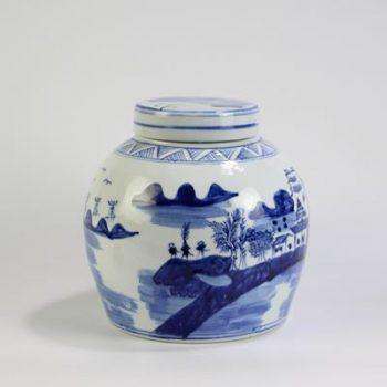 RYUV19_景德镇陶瓷 仿古纯手绘青花 山水陶瓷罐 储物罐
