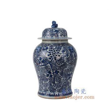 RYWD10-B_景德镇陶瓷 纯手绘 青花仿古 狮子头 葡萄将军罐 储物罐