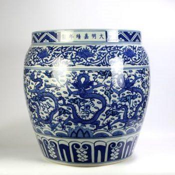 RYYC08_景德镇陶瓷 仿古 纯手绘青花缠枝莲龙纹 水缸 鱼缸 花盆