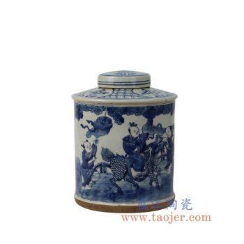 RYZK02-B_景德镇陶瓷 仿古手绘 青花 人物盖罐 储物罐 密封罐