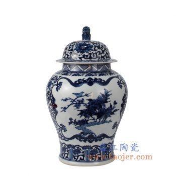 RZFQ25_景德镇陶瓷 仿古手绘 青花 花鸟 狮子头将军罐 储物罐