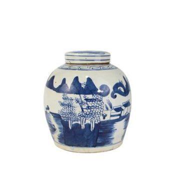RZFZ01-I_景德镇陶瓷 仿古做旧 纯手绘青花 山水 陶瓷罐 储物罐