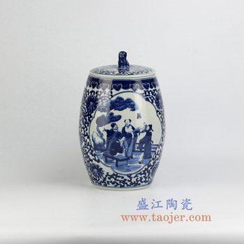 RZHM02-NEW-景德镇陶瓷 纯手绘青花缠枝 人物狮子头盖罐 密封罐 储物罐