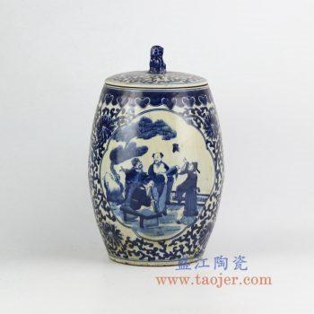RZHM02-old-景德镇陶瓷 仿古手绘青花缠枝 人物狮子头盖罐 密封罐 储物罐
