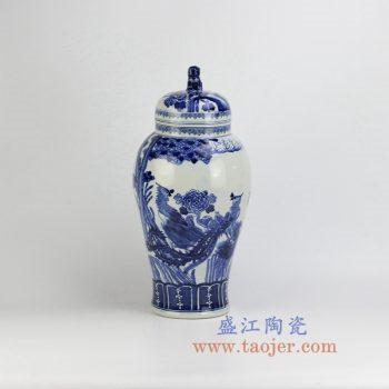 RZHM03-new-景德镇陶瓷 纯手绘青花花鸟 狮子头盖罐 密封罐 储物罐
