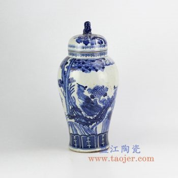 RZHM03-old-景德镇陶瓷 仿古手绘青花花鸟 狮子头盖罐 密封罐 储物罐