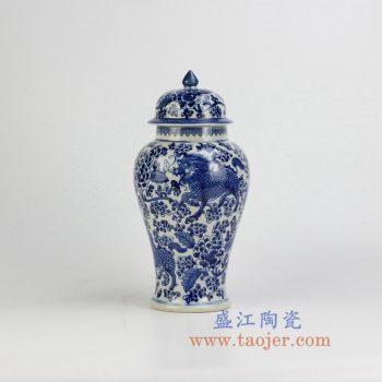 RZHM04-new-景德镇陶瓷 纯手绘 青花 龙纹将军罐 储物罐