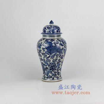 RZHM04-old_景德镇陶瓷 仿古手绘 青花 龙纹将军罐 储物罐