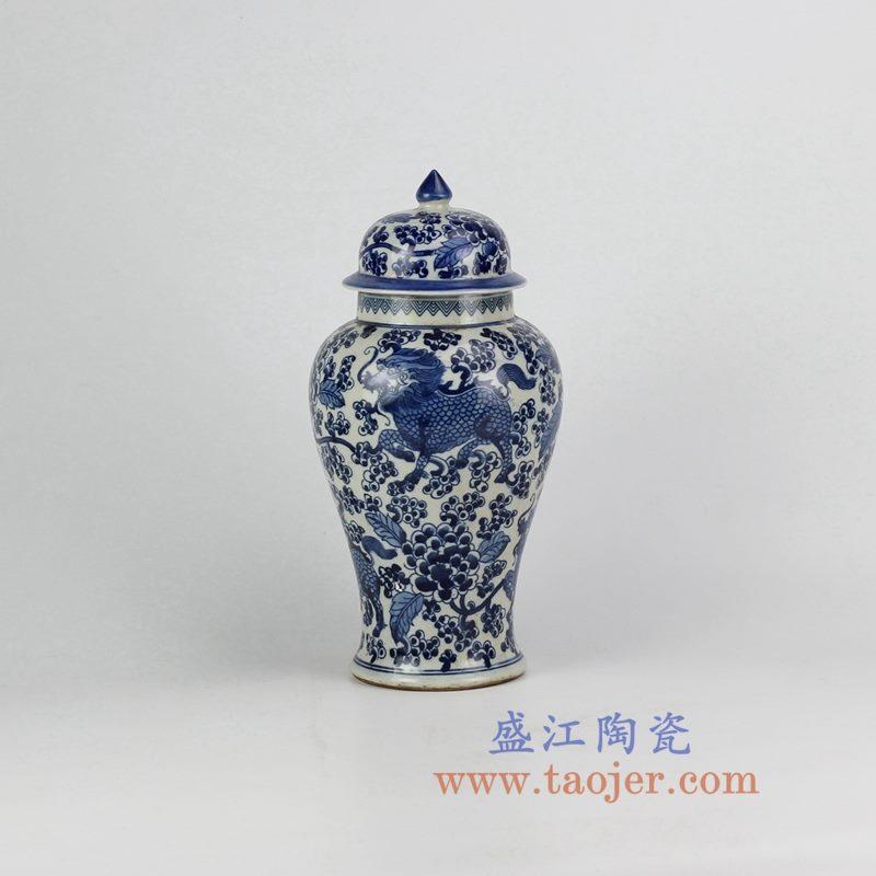 盛江陶瓷 仿古手绘 青花 龙纹将军罐 储物罐