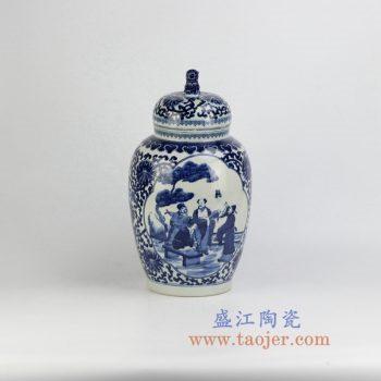 RZHM05-new_景德镇陶瓷 纯手绘青花缠枝 人物狮子头盖罐 密封罐 储物罐