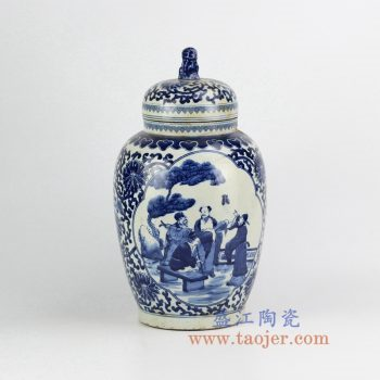 RZHM05-old_景德镇陶瓷 仿古手绘青花缠枝 人物狮子头盖罐 密封罐 储物罐
