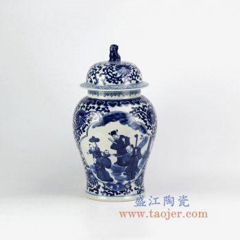 RZHM07-new景德镇陶瓷 纯手绘 青花缠枝 人物狮子头将军罐 储物罐