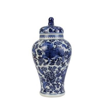 RZHM08_景德镇陶瓷 纯手绘青花 狮子头 龙纹葡萄将军罐 储物罐