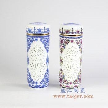 RZIN10_景德镇陶瓷 纯手工手绘雕刻镂空 青花五彩 水杯 茶杯 保温杯