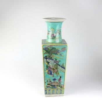 RZJH04-B_景德镇陶瓷 大清 仿古手绘 粉彩 人物 花插 花盆 摆件品 收藏 古董