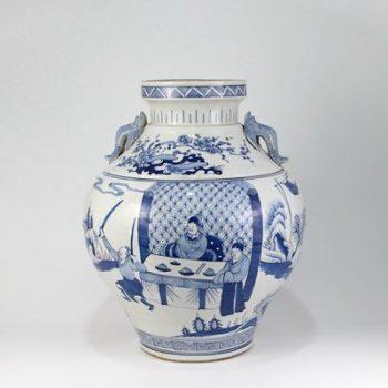 RZKS05_景德镇陶瓷 仿古手绘青花 人物 双耳 陶瓷罐 摆件品 收藏 古董