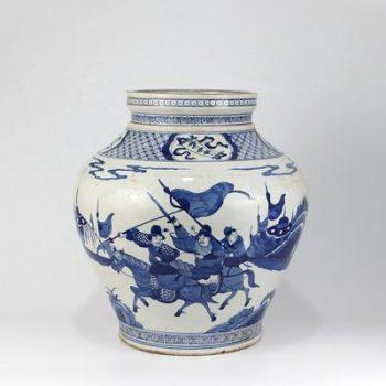 RZKS06_景德镇陶瓷 仿古手绘青花 人物 陶瓷罐 花插 花盆 收藏 古董