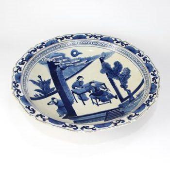 RZKS10_景德镇陶瓷 纯手绘青花仿古 做旧人物 赏盘 摆盘 收藏 古董