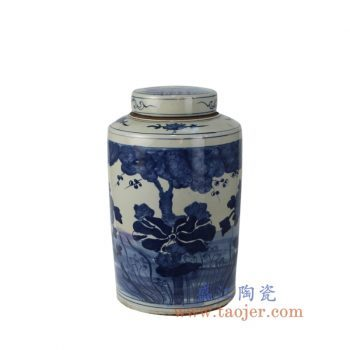 RZKT02-A_景德镇陶瓷 仿古手绘青花 花草密封罐 茶叶罐 储物罐