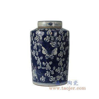 RZKT02-B_景德镇陶瓷 仿古手绘青花 蓝底蝴蝶密封罐 茶叶罐 储物罐