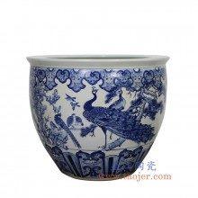 盛江陶瓷 纯手绘青花 孔雀 大水缸 米缸 花盆