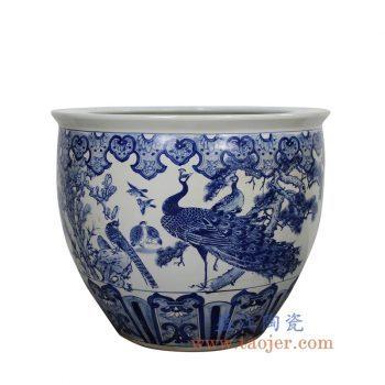 RZMJ01-景德镇陶瓷 纯手绘青花 孔雀 大水缸 米缸 花盆