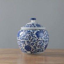 盛江陶瓷 手绘青花缠枝 盖罐 储物罐 茶叶罐