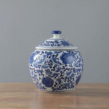 RYIG32_景德镇陶瓷 手绘青花缠枝 盖罐 储物罐 茶叶罐