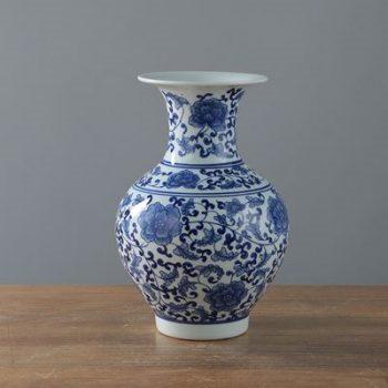 RYIG33-A_景德镇陶瓷 手绘仿古青花缠枝罗汉瓶 花插花瓶