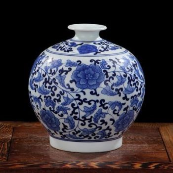 RYIG33-B-景德镇陶瓷 手绘青花缠枝 石榴瓶 花插花瓶