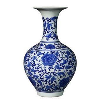 RYIG33-C-景德镇陶瓷 手绘仿古青花缠枝 赏瓶 花插花瓶