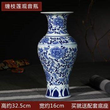 RYIG33-H-景德镇陶瓷 手绘青花缠枝莲观音瓶 花插花瓶