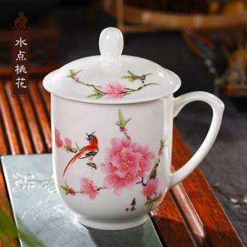 RZIC03-E-景德镇陶瓷 高温白玉瓷 水点桃花 骨瓷杯 水杯 会议杯 礼品杯