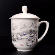 盛江陶瓷 高温白玉瓷 雪景 骨瓷杯 水杯 会议杯 礼品杯
