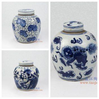 RZKT04 景德镇陶瓷 仿古纯手工青花 茶叶罐 盖罐 储物罐 古董瓷器古玩