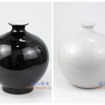 RZMV10 景德镇陶瓷 高温瓷低温颜色釉 黑色白色 石榴瓶 花插花瓶