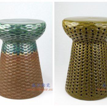 RYIR127-128 景德镇陶瓷 高温瓷低温颜色釉 双色 陶瓷鼓凳 凉墩
