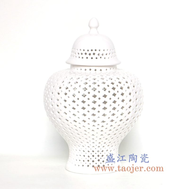 盛江陶瓷 北欧白色镂空系列陶瓷将军罐 大中小号