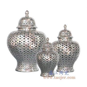 RYZS53-C-景德镇陶瓷 纯手工 镀银 镂空 将军罐 大中小号